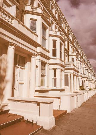 houses row: Row of Terraced Houses in London, UK vintage