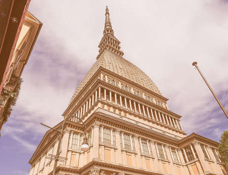 at the highest: The Mole Antonelliana in Turin Piedmont Italy is the highest building in town vintage Stock Photo