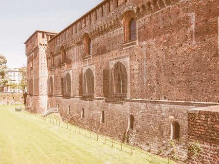 sforza: Castello Sforzesco (Sforza Castle) in Milan Italy vintage