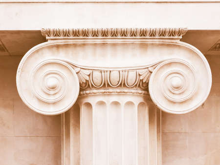 vintage objects: Architectural detail of an ancient Ionic capital vintage Stock Photo