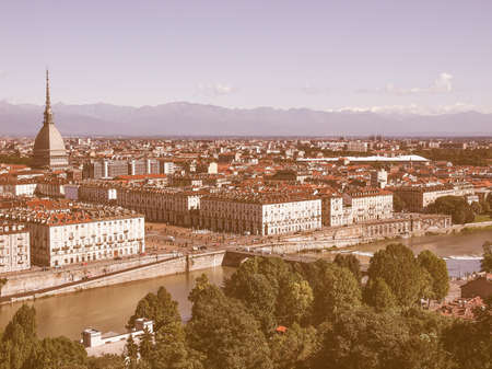 surrounding: Turin skyline panorama seen from the hills surrounding the city vintage