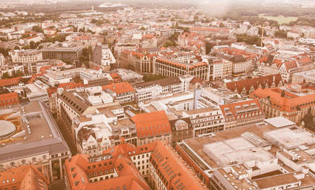 leipzig: Aerial view of the city of Leipzig in Germany vintage Stock Photo