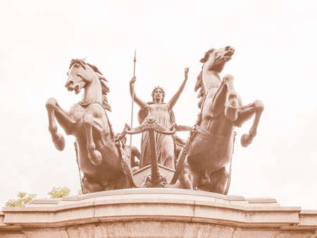 invader: Statue of Boadicea Boudicca Queen of the Iceni who died AD 61 after leading her people against the Roman invader in UK vintage