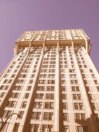 torre: Torre Velasca, modern landmark building in Milan vintage