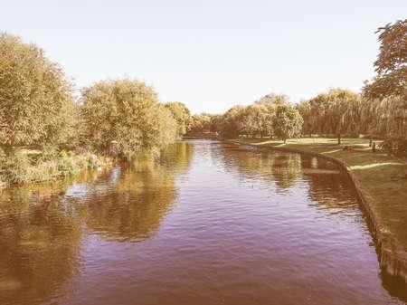 stratford upon avon: River Avon in Stratford upon Avon, UK vintage