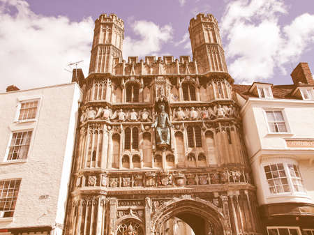 augustine: St Augustine Gate in Canterbury England UK vintage Stock Photo