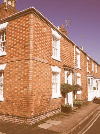typically: A row of typically British terraced houses aka townhouse vintage Editorial