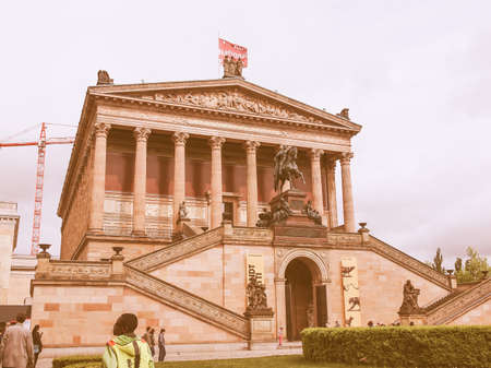 alte: BERLIN, GERMANY - MAY 09, 2014: People visiting the Alte Nationalgalerie museum in Berlin Germany vintage Editorial