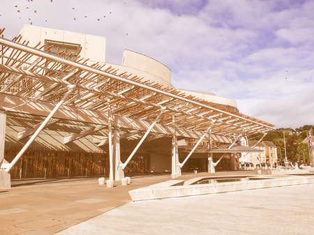 scottish parliament: EDINBURGH, SCOTLAND, UK - SEPTEMBER 18, 2010: The new Scottish Parliament vintage