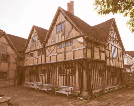 william shakespeare: STRATFORD UPON AVON, UK - SEPTEMBER 26, 2015: William Shakespeare birthplace vintage