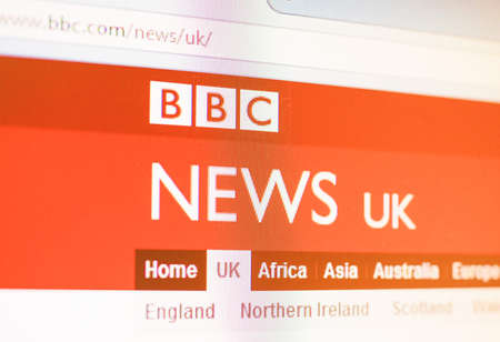 bbc: LONDON, UK - OCTOBER 30, 2014: British home page of the BBC News web site vintage