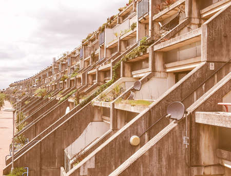 applies: LONDON, ENGLAND, UK - MAY 06, 2010: The Alexandra Road estate designed in 1968 by Neave Brown applies the terraced house model to high-density public housing is a masterpiece of new brutalist architecture vintage