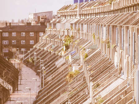applies: LONDON, ENGLAND, UK - MARCH 07, 2008: The Alexandra Road estate designed in 1968 by Neave Brown applies the terraced house model to high-density public housing is a masterpiece of new brutalist architecture vintage Editorial