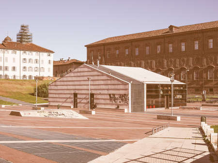 biergarten: TURIN, ITALY - OCTOBER 22, 2014: Piazzale Valdo Fusi is a large central square with a jazz club, a beer garden, the Museum of Natural History, the Chamber of Commerce vintage