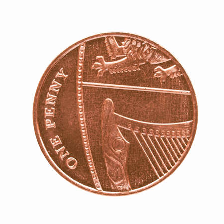 uk money: One Penny coin currency of the United Kingdom vintage Editorial