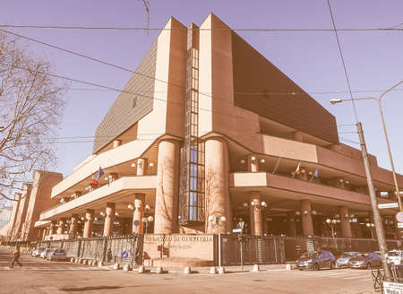 courthouse: TURIN, ITALY - JANUARY 23, 2015: Palazzo di Giustizia meaning Courthouse in Turin Italy vintage