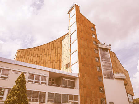 concert hall: BERLIN, GERMANY - MAY 09, 2014: The Berliner Philharmonie concert hall designed by German architect Hans Scharoun in 1961 is a masterpiece of modern architecture vintage Editorial