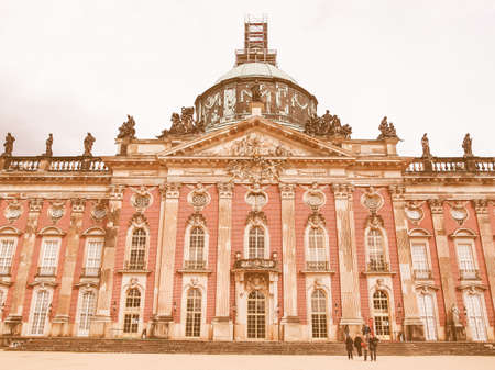 neues: POTSDAM, GERMANY - MAY 10, 2014: Ruins of the Neues Palais new royal palace in Park Sanssouci in Potsdam Berlin vintage