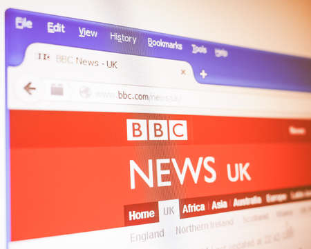 page site: LONDON, UK - DECEMBER 23, 2014: British home page of the BBC News web site vintage
