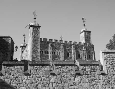 dungeons: The Tower of London in London, UK in black and white Stock Photo