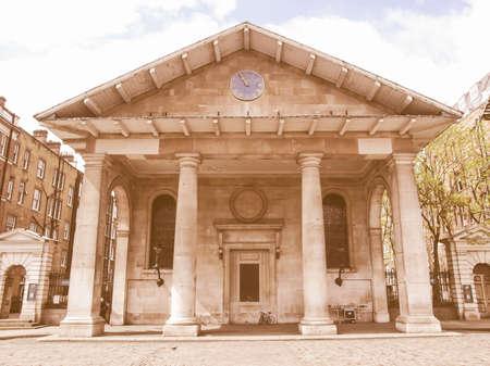 covent: Saint Paul church in Covent Garden, London, UK vintage