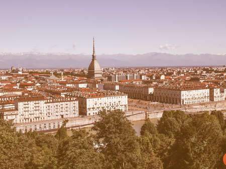 birdeye: Turin skyline panorama seen from the hills surrounding the city vintage