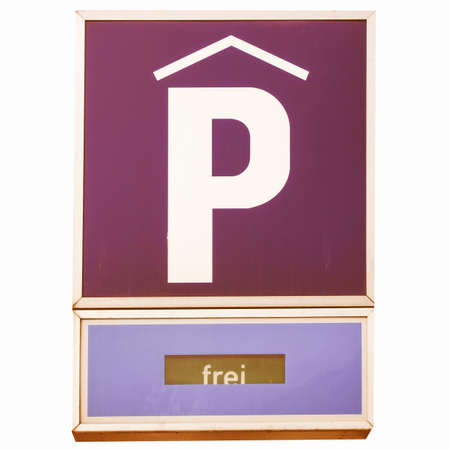 A road sign for a parking area - in German (Deutsch) - isolated over white background vintage Stock Photo