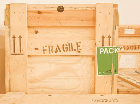 used items: Wooden box used to transport fragile items vintage Stock Photo