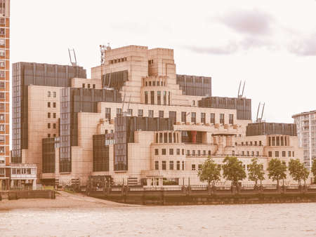 secret: SIS MI6 headquarters of British Secret Intelligence Service at Vauxhall Cross London vintage