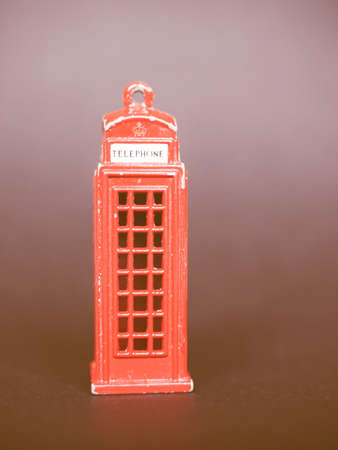 telephone box: Scale model of red telephone box in London UK vintage