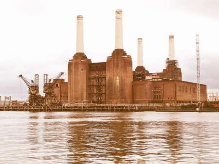 battersea: Battersea Power Station in London, England, UK vintage