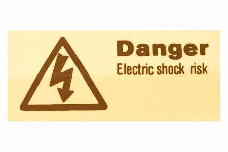 descarga electrica: Signo de riesgo de descarga el�ctrica por electrocuci�n de la vendimia Foto de archivo