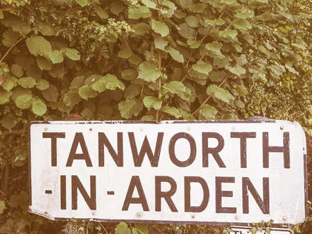 arden: Town sign in Tanworth in Arden, UK vintage
