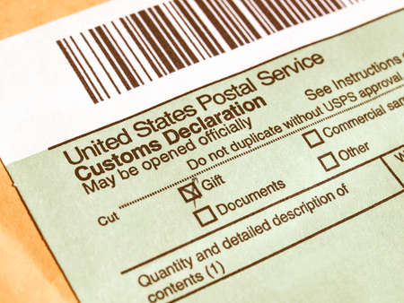 declaration: Customs declaration on a foreign packet parcel vintage