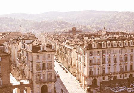 castello: Piazza Castello central baroque square in Turin Italy vintage Stock Photo