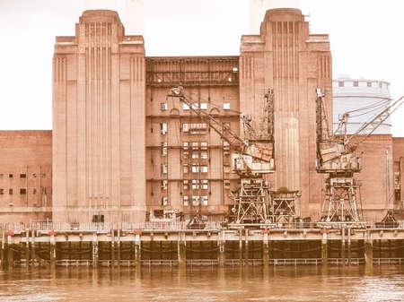 battersea: Battersea Power Station in London England UK vintage Stock Photo
