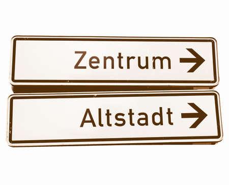 altstadt: Zentrum (Centre) and Altstadt (Old town) signs - in German vintage