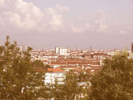 birdeye: City of Turin (Torino) skyline panorama seen from the hill vintage