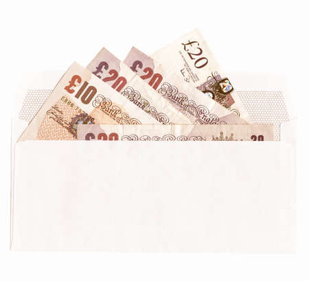 Banknotes money in an envelope over white background vintage
