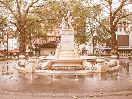 leicester: Statue of William Shakespeare (year 1874) in Leicester square London UK vintage