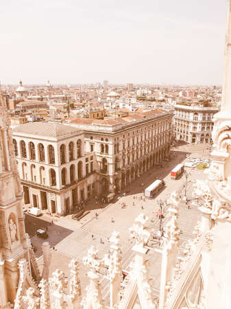 milano: View of the city of Milan Milano in Italy vintage