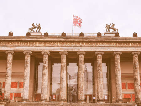antiquities: BERLIN, GERMANY - MAY 09, 2014: Tourists visiting the Altes Museum of Antiquities in Museumsinsel Berlin Germany vintage