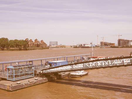 greenwich: LONDON, UK - JUNE 11, 2015: Greenwich embankment on Thames river vintage