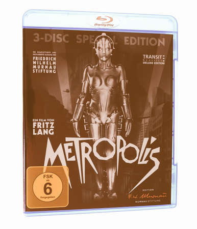 recently: BERLIN, GERMANY - APRIL 2, 2015: The 1927 German expressionist movie Metropolis by Fritz Lang has been recently restored to its full original version with newly found footage and original music score vintage