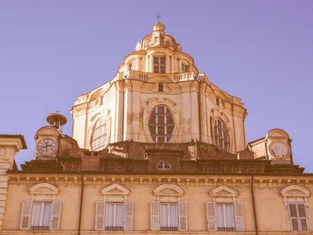 lorenzo: The church of San Lorenzo Turin Italy vintage Editorial