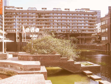 listed: LONDON, ENGLAND, UK - MARCH 07, 2008: The Barbican Complex built in the sixties and seventies is a Grade II listed masterpiece of new brutalist architecture vintage