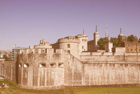 dungeons: LONDON, UK - JUNE 11, 2015: Tourists visiting the Tower of London vintage