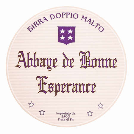 bonne: BRUSSELS, BELGIUM  DECEMBER - MARCH 15, 2015: Beermat of Belgian beer Abbaye de Bonne Esperance isolated over white background vintage