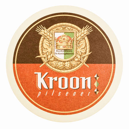 pilsner: BRUSSELS, BELGIUM - MARCH 15, 2015: Beermat of Belgian beer Kroon pilsner isolated over white background vintage