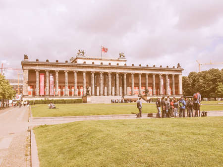antiquities: BERLIN, GERMANY - MAY 10, 2014: Tourists visiting the Altes Museum of Antiquities in Museumsinsel Berlin Germany vintage Editorial